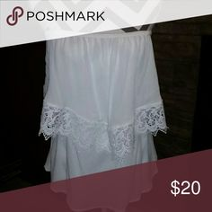 Lace off the shoulder Top Like new, worn once. Super comfy off the shoulder lace top. Tops