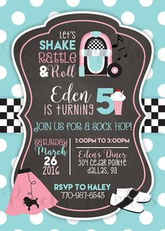This sock hop birthday invitation is completely customizable, so if you need to make any changes to color or wording... that all comes FREE with purchase! If you choose to change the colors, please use this website to pick your color, and send me the HEX code(s): http://www.color-hex.com/  {(WHAT YOULL GET)} • personalized invitation ready to print • 5x7 JPG file • delivery to your email address  {(HOW TO GET IT)} • add it to your cart, then purchase the listing. • leave the following…