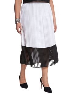Contrast Pleated Skirt | Women's Plus Size Skirts | ELOQUII