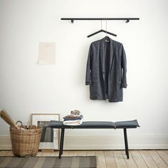 Entryway Design Ideas - 3 Different Styles Of Entryway Benches // A simple bench with light padding and a matching coat rack make this small entryway look put together and very minimal. Garderobe Design, Decoration Entree, Interior And Exterior, Interior Design, Entry Way Design, House Doctor, Hallway Decorating, Plywood Furniture, Bench Furniture