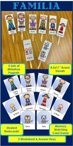 Spanish Family / Familia Pack 2 sets of miniature puppets Board visuals Student flashcards Memory Matching Card Game 2 Worksheets with Answer Keys Preschool Spanish, Spanish Activities, Spanish Classroom, Teaching Spanish, Teaching Resources, Spanish Teacher, Spanish Games, Middle School Spanish, Elementary Spanish