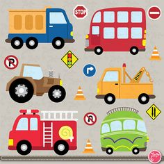 Transportation clip art ,Cute  Vehicles, transport set perfect for Scrapbook, Cards, Invitations,Personal and Commercial Use Ts004