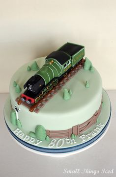 The Flying Scotsman Birthday Cake. Another order from the lovely Stephanie for her Dad's Birthday . Trains Birthday Party, Birthday Cakes For Men, 80th Birthday, Birthday Party Themes, Flying Scotsman, Cake Tutorial, Cake Cookies, Cake Designs, Train Cakes