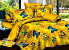 #Butterfly Angel and Yellow Sunflower Print 4-Piece Polyester Duvet Cover Sets #bedroom #bedding