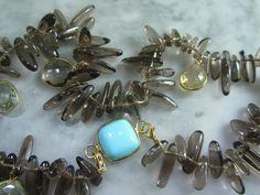 Rauchquarz - Rauchquarz Kette Gold Tuerkis Citrin Collier Luxus - ein Designerstück von TOMKJustbe bei DaWanda
