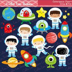 Weltraum-Clipart, junge Astronauten, Raketen, Aliens, Planeten, Sterne