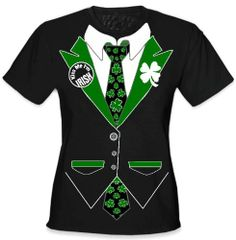 Amazon.com: Irish Shamrock Tie Tuxedo Girls T-Shirt #13A: Clothing