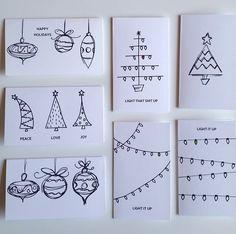 Christmas Cards Drawing, Simple Christmas Cards, Christmas Doodles, Handmade Christmas Tree, Homemade Christmas Cards, Christmas Tree Cards, Holiday Cards, Christmas Diy, Christmas Countdown