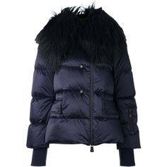 Moncler Grenoble collar detail puffer jacket ($2,015) ❤ liked on Polyvore featuring outerwear, jackets, moncler grenoble, feather jackets, blue fur jacket, blue puffer jacket and navy jacket