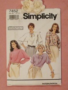 Women's Misses' Blouse Sewing Pattern Simplicity 7452 Size PT - XL 1991 Uncut and Factory Folded