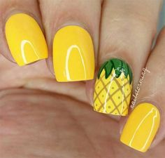 If you're looking to do seasonal nail art, spring is a great time to do so. The springtime is all about color, which means bright colors and pastels are becoming popular again for nail art. These types of colors allow you to create gorgeous nail art. Pineapple Nails, Watermelon Nails, Pineapple Jewelry, Pineapple Nail Design, Pineapple Yellow, Pineapple Fruit, Nails Yellow, Yellow Nails Design, Yellow Nail Polish
