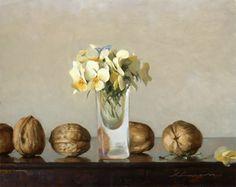 Jeffrey T. Larson (American, b. 1962)  Walnuts & Bouquet.  Oil on panel 8x10. 2004