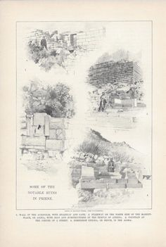 1901 Priene Greek Ionian City Alexander the Great vintage magazine article