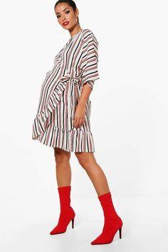 boohoo Maternity Nicola Stripe Wrap Ruffle Dress