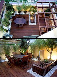 Small Backyard Patio Ideas On a Budget 42 Kleine Hinterhof-Patio-Ideen mit kleinem Budget 42 Rooftop Terrace Design, Terrace Garden Design, Modern Garden Design, Patio Design, Modern Design, Modern Patio, Modern Pergola, Rooftop Patio, Contemporary Garden