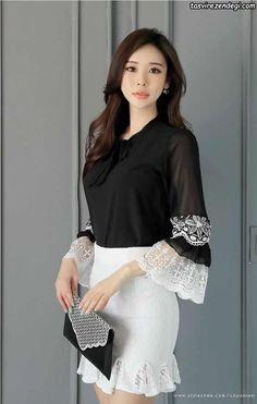 Korean Women`s Fashion Shopping Mall, Styleonme. Sleeves Designs For Dresses, Sleeve Designs, Denim Jacket With Dress, Casual Dresses, Fashion Dresses, Moda Chic, Korean Outfits, Korean Women, Classy Outfits