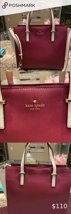Kate Spade Satchel Kate Spade Large size Satchel bag in a beautiful wine color with tan accents. It comes with a strap to wear as a crossbody.  I don't remember ever using it, and it's been just sitting in my closet waiting for the right buyer. It is so clean inside, It still has the tissue inside. kate spade Bags Satchels Kate Spade Satchel, Satchel Bag, Kate Spade Bag, Color Shampoo, Hermes Kelly, Satchels, Waiting, Things To Come, Wine