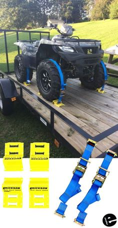 This tie-down kit secures your ATV or other wheeled equipment to your trailer. The ratchet straps have E-track fittings that clip into the E-track anc Lifted Trucks, Chevy Trucks, Pickup Trucks, Rc Trucks, Tow Truck, Trailer Plans, Trailer Build, Quad Trailer, Kayak Trailer