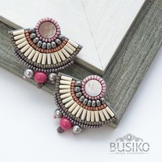 Gray pink fan earrings Beautiful massive earrings Beaded earring with pearl Stylish bead embroidered elegant earrings Vintage style jewelry by BusikoUA on Etsy Bead Embroidery Jewelry, Soutache Jewelry, Fabric Jewelry, Boho Jewelry, Beaded Jewelry, Jewelry Design, Diy Earrings Dangle, Earrings Handmade, Handmade Jewelry