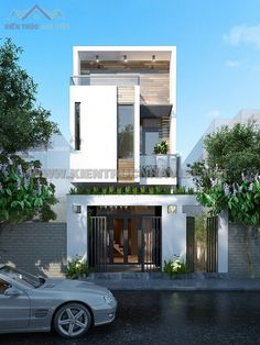 Two storey townhouse facade beautiful Arch House, Facade House, House Front, Bungalow House Design, Modern House Design, Facade Design, Exterior Design, Residential Architecture, Modern Architecture