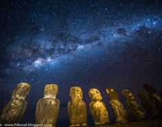 Milky Way above Easter Island Wallpaper for Tablets