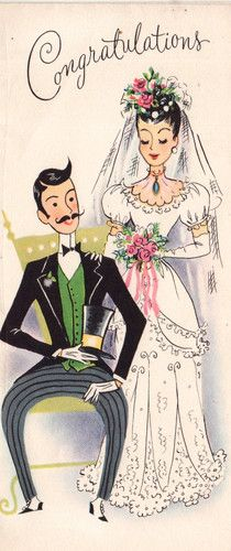 Congratiolations to my dear husband thank you for 38 years ❤❤❤ Vintage Wedding Cards, Vintage Greeting Cards, Vintage Bridal, Vintage Holiday, Vintage Postcards, Vintage Images, Wedding Postcard, Vintage Pictures, Wedding Bride