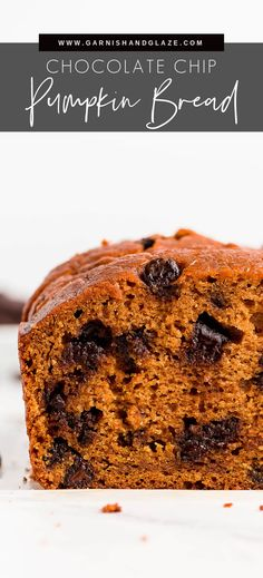 Pumpkin Chocolate Chip Bread is the best way to enjoy pumpkin! This fall favorite has an incredible light, fluffy, and moist texture with the perfect amount of sweetness that will have you coming back for seconds. #pumpkin #pumpkinbread #chocolatechip | GarnishandGlaze.com