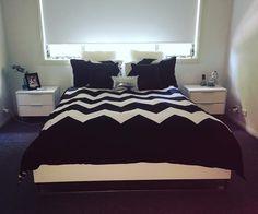 @saraaaaaaaah_xo  inlove #loganandmason #blackandwhite #zigzag #hisandhers #bedroomselfie #freshsheets #newbedding @thatjdubkidd