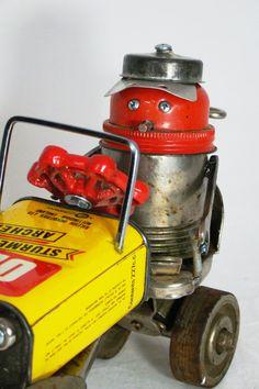 Rally - Found Object Sculpture - By Bill McKenney - Bills Retro Robots