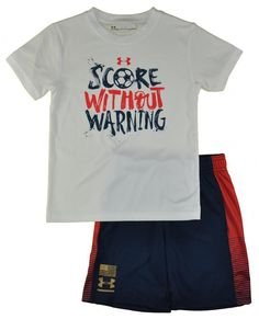 Under Armour Boys White Score Without Warning Top 2pc Short Set Size 5   fashion   762ada0d0
