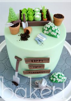 Gardening cake - for all your cake decorating supplies, please visit Garden Birthday Cake, 90th Birthday Cakes, Garden Theme Cake, Garden Cakes, Allotment Cake, Dad Cake, Cake Decorating Supplies, Novelty Cakes, Occasion Cakes