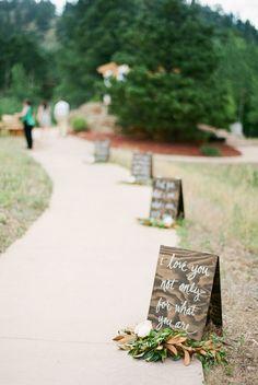 calligraphy love quote sign wedding walkway ideas