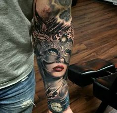 Awesome Woman in Masquerade Mask Tattoo
