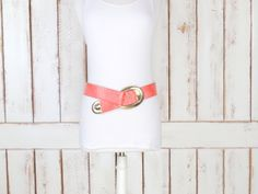 On Sale - 80s vintage wide salmon pink/peach alligator print faux leather statement belt/croc print belt/animal print belt by GreenCanyonTradingCo on Etsy