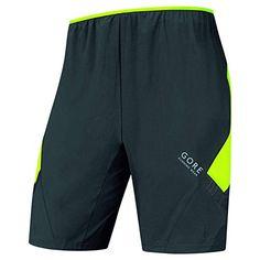 Gore Running Wear Men's Inner Air Shorts-Black/Neon Yellow, 2X-Large