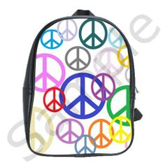 Peace Sign Collage School Backpack Bag (Large) from CowCow