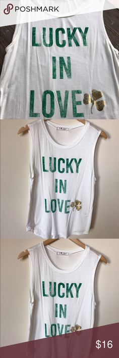 Lucky in Love St Patty's Day Tank! U Love Closet Brand Lucky in ❤️ cute tank! Would fit S or M. Tops