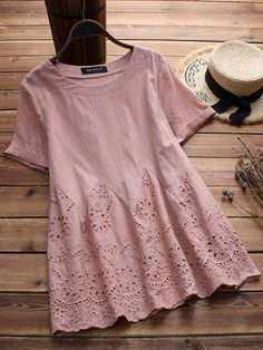 Laced Hollow Embroidered Short Sleeve Vintage Blouses look not only special, but also they always show ladies' glamour perfectly and bring surprise. Come to NewChic to choose the best one for yourself! Mobile.