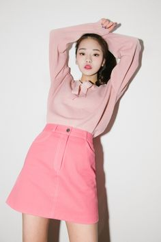 #mixxmix Pink A-Line Mini Skirt (BVLM) - Flirty and definitely charming with its pink color, this mini skirt is the ideal piece for your feminine casual get-up. #mxm #hideandseek #has #365basic #bauhaus #koreanfashionstyle #girlsfashion #lovelywoman #juniorfashion #kstyle #koreangirls #streetfashion #twinlook #dailyoutfit #styling #youngcasual