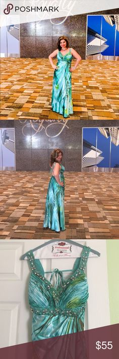 Turquoise/green jeweled Gown Dress Beautiful Gown Dress with jewels, worn only ones, dry cleaned and looks like new! Dresses Prom