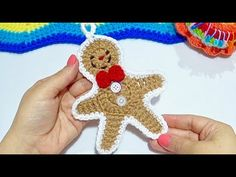 GALLETA DE JENGIBRE FACIL DE TEJER !! Paso a paso - YouTube C2c Crochet, Cactus, Crochet Earrings, Christmas Ornaments, Holiday Decor, Youtube, Diy, Crochet Backpack, Cute Cookies