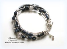 Denim and Lace  Bracelet.. Sterling Silver by SurrealTreasures