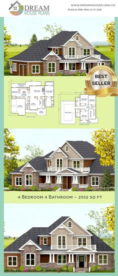 Dream House Plans Best Traditional 5 Bedroom, 3197 Sq Ft Home