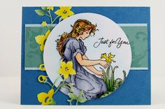 Gorgeous rendition of Daffodil Girl Stampendous stamp.