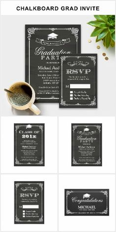 A Chalkboard Vintage Frame Graduation Invitation Suite, with items from invitation to RSVP card, thank you card,stickers, address label, party banner, and more.