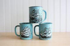 Vintage Nautical Blue Ship Coffee Mugs  Japan by TheGlassLily
