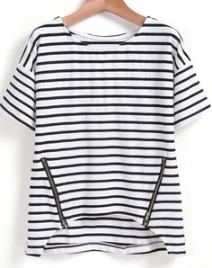 Black White Striped Zipper Dip Hem T-Shirt 9.90