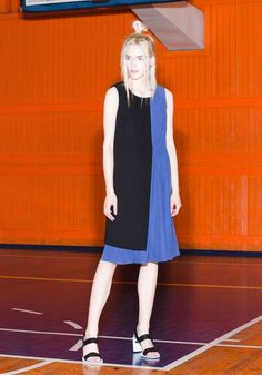 Black and Blue Contrast Dress Pina