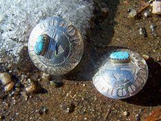 Hopi Kachina Turquoise and Silver Earrings