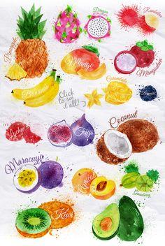 Awesome watercolor fruits Watercolour pineapple, banana, dragon fruit, avocado, kiwi etc